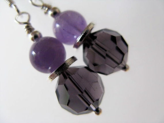 SALE Amethyst and Dark Purple Faceted Glass Beaded Sterling Silver Earrings - Plum Perfect