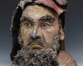 Ceramic Figure Bust of Bodhidharma Daruma Old Man in Raku Clay