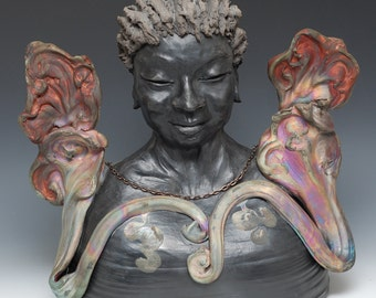 Figurative Sculpture Old Woman Bust With Clouds for Wings