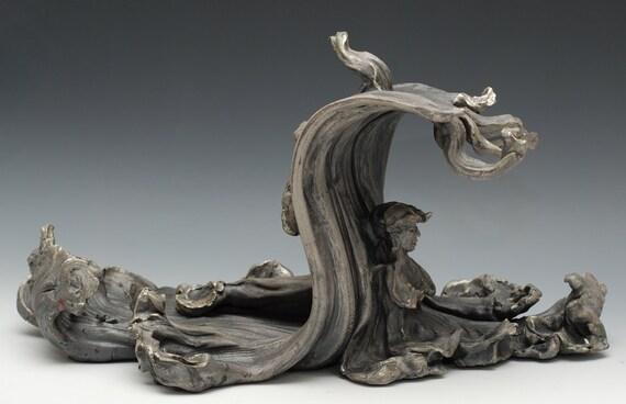 Tsunami Buddha Sculpture in Raku Ceramics