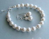 Pearl Jewelry Set -  Crystal and Pearl Bracelet and Earring Set in White or Ivory Pearls - Wedding Jewelry for the Bride by Janice Marie