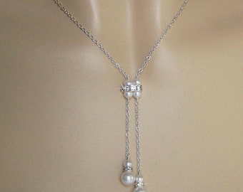 Pearl Necklace - Pearl and Crystal Double Drop Necklace - Bridal Jewelry - Y Necklace - Wedding Jewelry by JaniceMarie