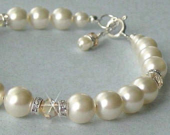 Ivory Pearl Bracelet - Champagne Crystal and Ivory Pearl Bridal Bracelet - Bridal Bracelet - Wedding Jewelry by JaniceMarie