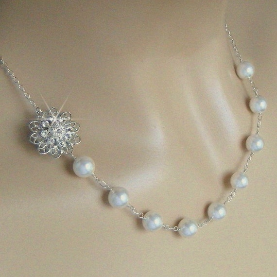 Special Order for Brandi - Pearl Bridal Necklace - Pearl and Crystal Flower Asymmetrical Wedding Necklace - Pearl Necklace by Janice Marie