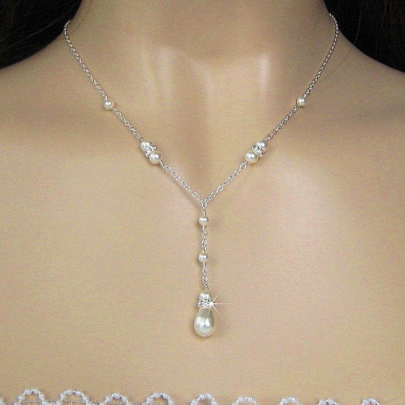 Pearl Bridal Necklace - Teardrop Pearl and Crystal Wedding Necklace, Ivory or White - Y Drop Pearl Necklace - Wedding Jewelry by JaniceMarie