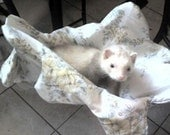 FERRET HAMMOCK-CUSTOM MADE-WHIT BACKROUND W\/YELLOW FLOWERS