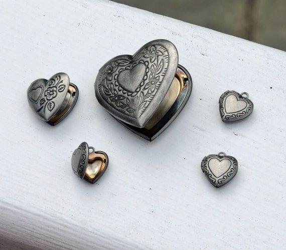 Heart Lockets - Lot of 5 Charm Pendants