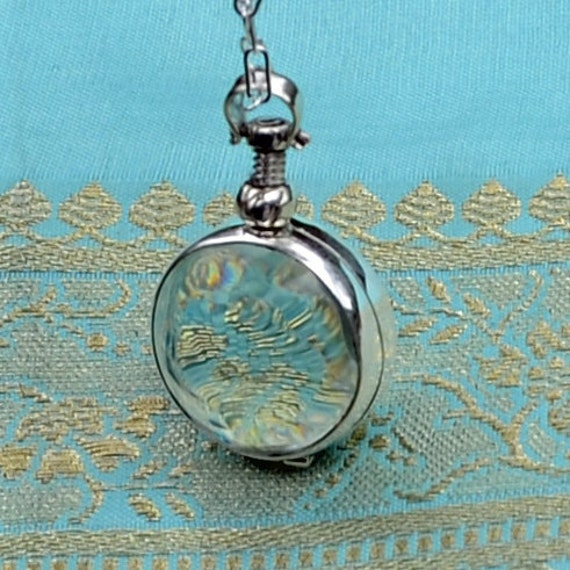 Glass Round Picture Locket - Sterling Silver -  Necklace