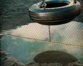 Blue Black Tire Swing Photograph--Reflection of a Swinger--Fine Art