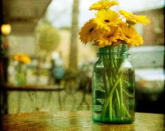 Blue Yellow Bouquet Flower Photograph--Sunday Afternoon--Fine Art