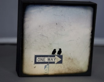 One Way or Another Sepia 4x4 Fine Art Photograph on Wood Panel
