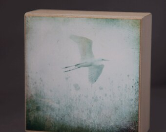 Release--Egret in Morning Fog 4x4 Fine Art Photograph on Wood Panel