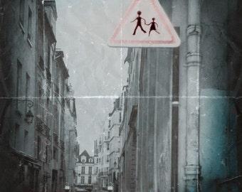 Blue Pink Paris Photograph--Paris Street--Walk-- TTV Fine Art