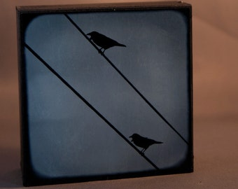 Blue Crow Photograph on Wood Panel--Two Crows on Two Wires--4x4 Fine Art