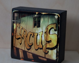 Gold Circus Photograph on Wood Panel--The Circus Wagon--4x4 Fine Art