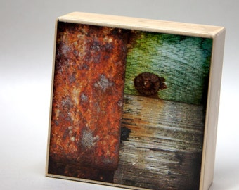Red Green Gray Texture Rust 4x4 Photograph on Wood Panel--Texture Composition 2--Fine Art