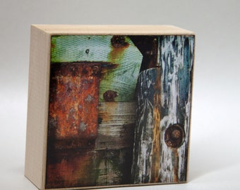 Gray Green Red Rust 4x4 Photograph on Wood Panel--Texture Composition 1--Fine Art