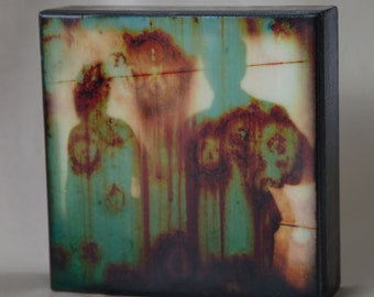 Rust Cyan Shadows 6x6 Encaustic Photograph--Shadows on Rust--Fine Art