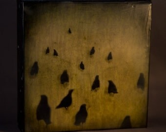 Follow The Leader Crows 8x8 Encaustic Photograph on Wood Panel