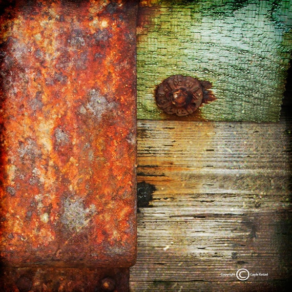 Red Green Gray Wood/Metal Texture Photograph--Texture Composition 2--Fine Art