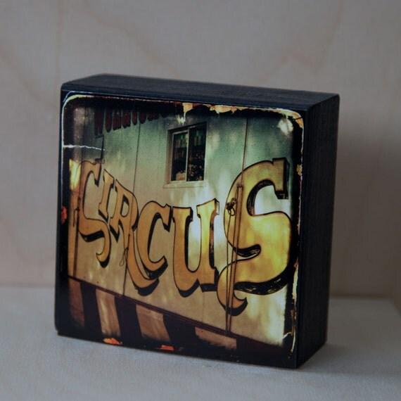 Gold Circus Photograph on Wood Panel--The Circus Wagon--4x4 Fine Art