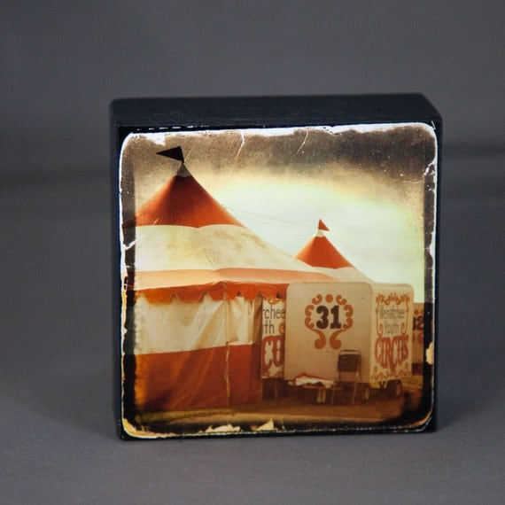 Red Gold Circus Tent Photograph on Wood Panel--4x4 Fine Art