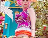 Tropical Japanese Harajuku Decora Girl KPop Kawaii Halter Top in Vintage Print and Neon Ruffles by Janice Louise Miller