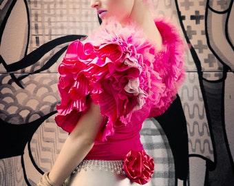 Japanese Fashion Harajuku Decora Girl Kawaii KPop Fashion Tutu Top in Fuchsia with Pink Ruffles by Janice Louise Miller