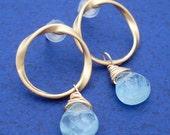Gold Aquamarine Stud Earrings