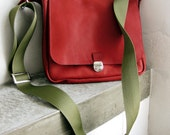 Leather Bag Tote Messenger Red-Brick Soft
