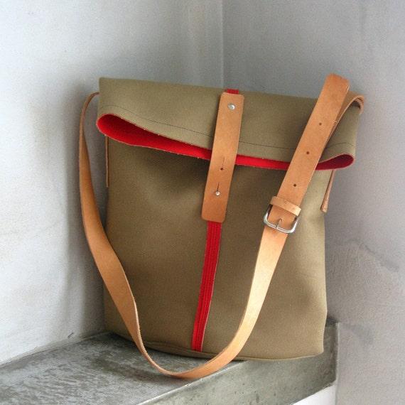 Bag Raw Edge Cotton Leather
