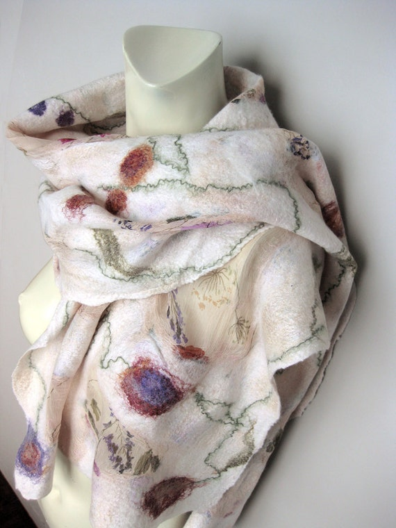 Felted Scarf  Silk Wool Spring Off-White Floral