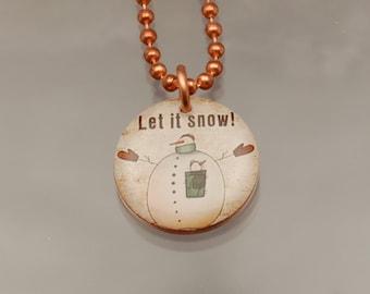Handmade Snowman Charm Copper Pendant Penny Art Necklace - Let it Snow - Womens Jewelry