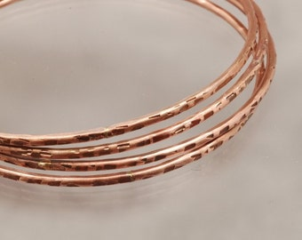 Handmade Copper Bangle Bracelet  - Squares Texture - 8  inches Womens Jewelry