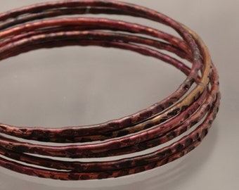 Handmade Purple Copper Bangle Bracelet  - Violet Squares - 10 1/2 inches Womens Jewelry