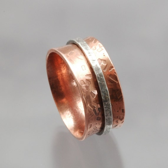 Silver Spinner Ring Sterling Copper Rustic - Harvest Flame - SRA SATEAM Womens Jewelry