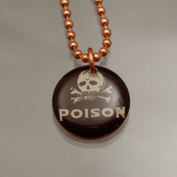Handmade Copper Skull Charm Pendant Necklace Upcycled Repurposed Penny- Black Poison - Womens Jewelry