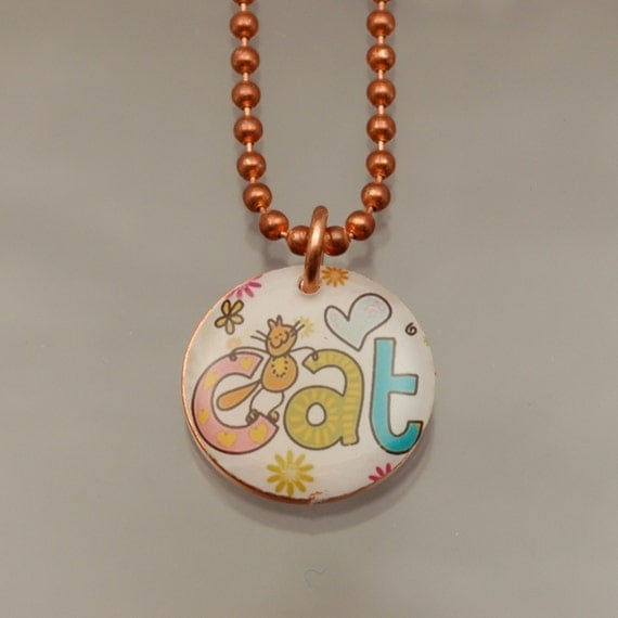 Handmade Copper Cat Charm Pendant Necklace Upcycled Repurposed Penny- Funky Cat - Womens Jewelry