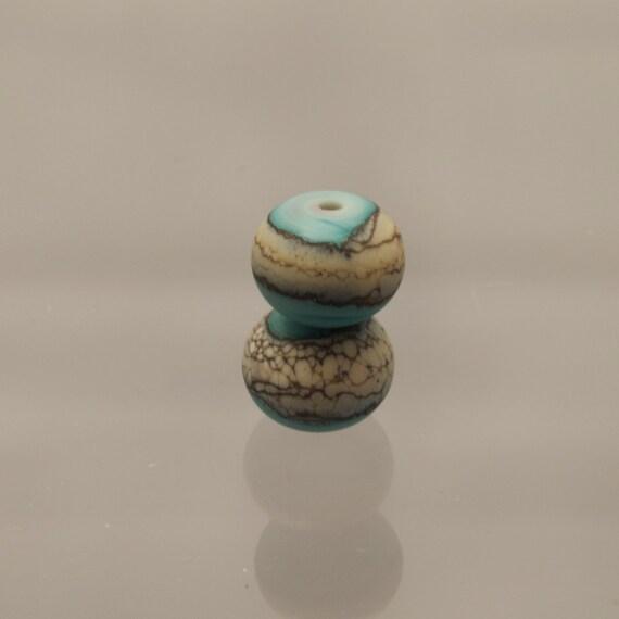 Handmade Turquoise Glass Beads Lampwork Earrings - Green Tea - Set SRA Jewelry Womens