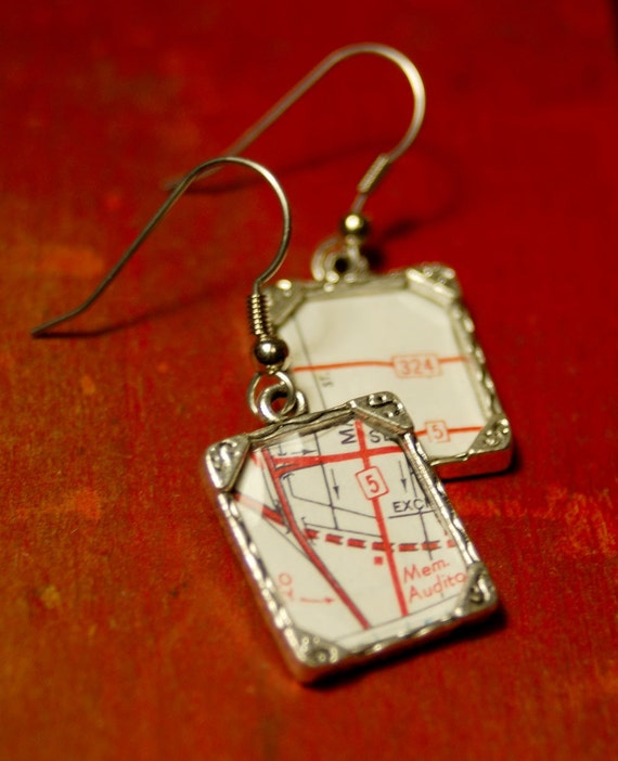 Earrings \/\/ Antique Map Dangles