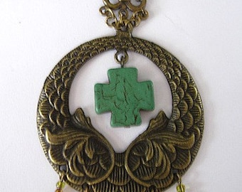 ON SALE - Brass Pendant with Green Cross Center Beaded and Chain Necklace