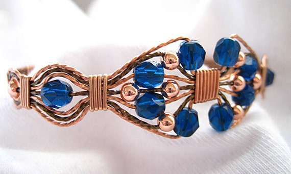 Dark Blue Faceted Beads Copper and Bronze Wire Wrapped Handmade Jewelry Bracelet