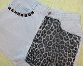 leopard print studded shorts (large)