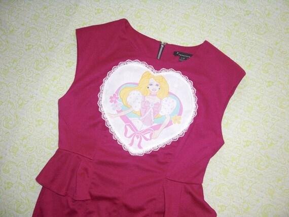 SALE magenta barbie peplum dress