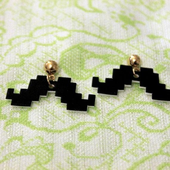 8 bit mustache gold post earrings