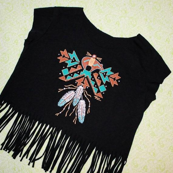 black feather aztec fringe crop top