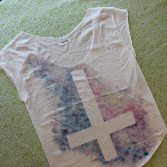 pastel inverted cross galaxy shirt