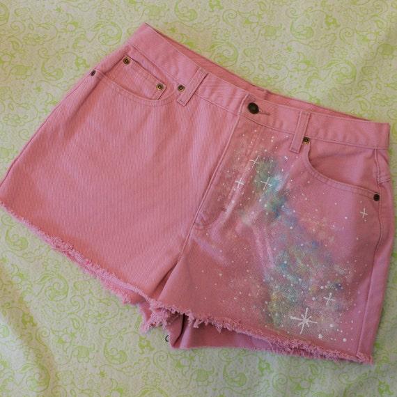 pastel pink galaxy shorts