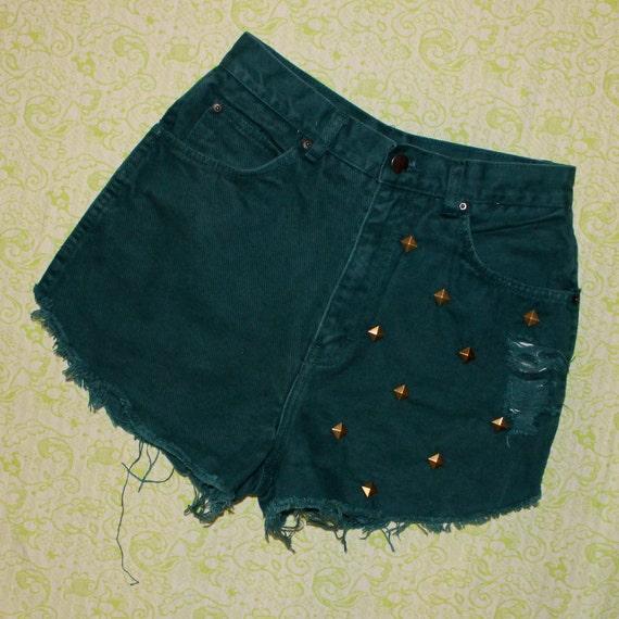green denim studded shorts