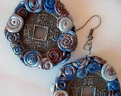 Azurine Earrings with Chinese Coin Replicas and coils of Polymer Clay